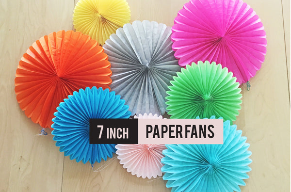 "7"" Paper Fans, paper wall decor, paper lanterns"