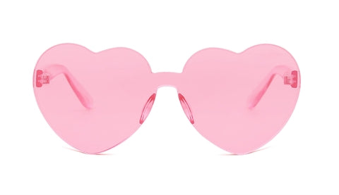Pink Heart Rimless Sunglasses