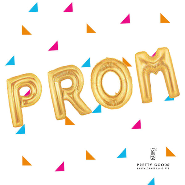 PROM graduation gold letter balloons
