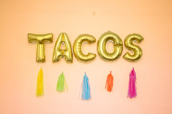 Mexican Fiesta balloons, TACOS letter banner, taco tuesday