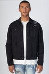 Black Paisley Patch Trucker Jacket KN05025