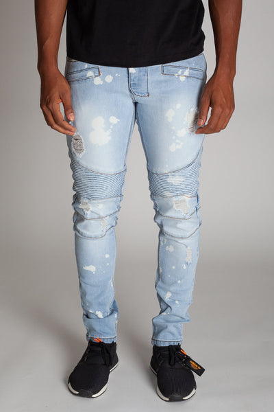 Light Blue Bleached Spot & Paint Brushed Moto Jeans KND4215