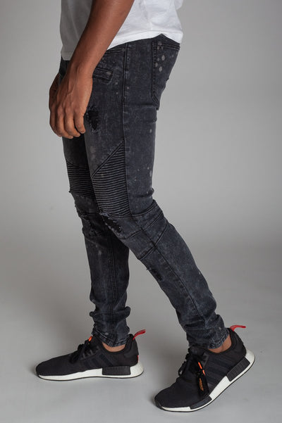 Grey Bleached Spot & Paint Brushed Moto Jeans KND4215
