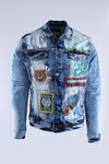 Blue Vintage Icon Printed Denim Jacket