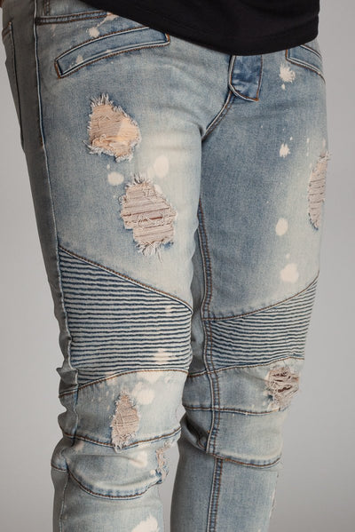 Medium Vintage Bleached Spot & Paint Brushed Moto Jeans KND4215