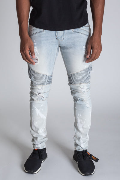 Ice Blue Bleached Paint Splash Moto Jeans KND4211