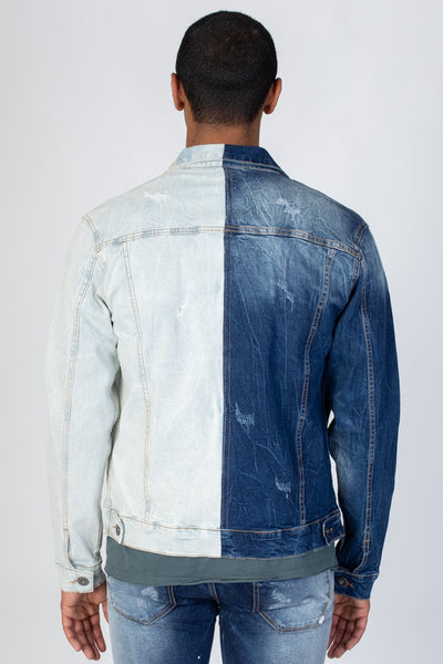 Blue Contrast Denim Jacket KN05035