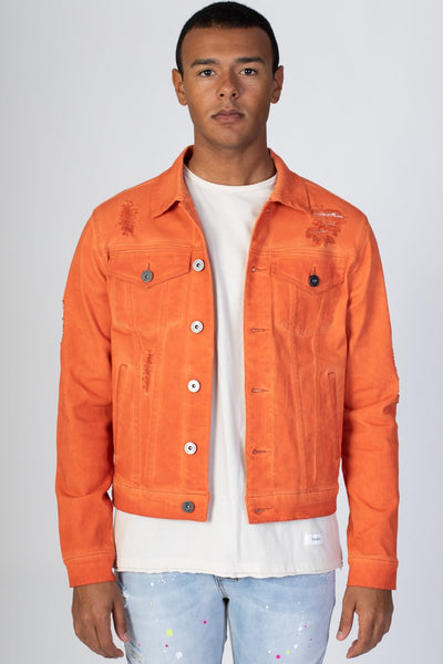 Orange Colored Twill Jacket KN05034