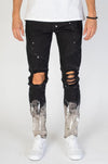Black Paint Splatter Moto Jeans KND4211
