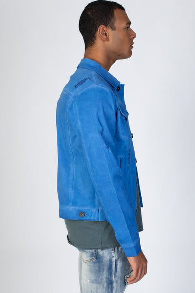 Blue Colored Twill Jacket KN05034