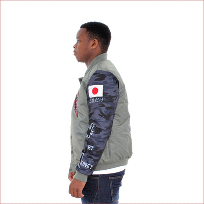 Robert Phillipe Olive Shark Bomber Jacket