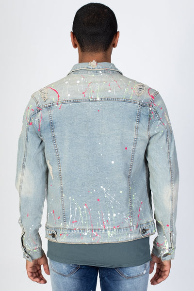 Tinted Light Blue Multi-Paint Splash Destroyed Denim Jacket KN05037