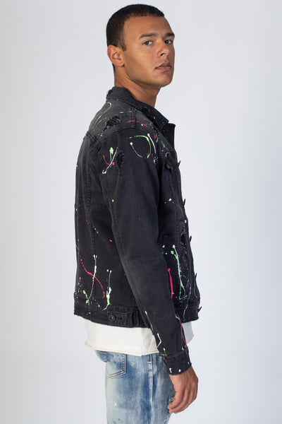 Dark Medium Grey Multi-Paint Splash Destroyed Denim Jacket KN05037