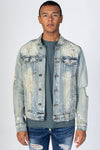 Vintage Medium Blue Bandana Patch Denim Jacket KN05036