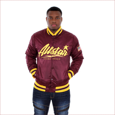 Black Pike All Star Championship Maroon Bomber Jacket