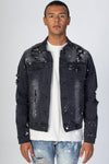 Dark Medium Gray Bandana Patch Denim Jacket KN05036