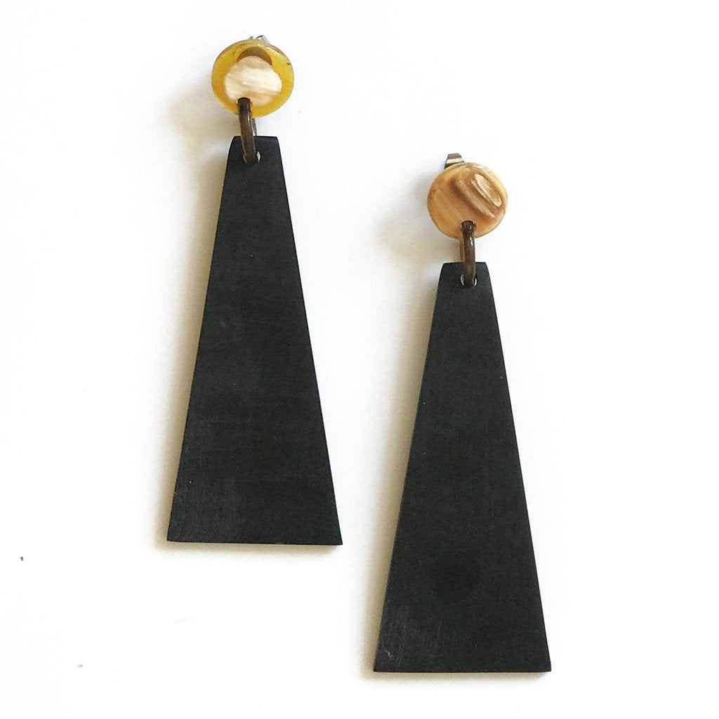 Matte Black Triangle Earrings