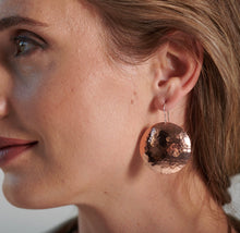 Hammered Copper Disc Earrings