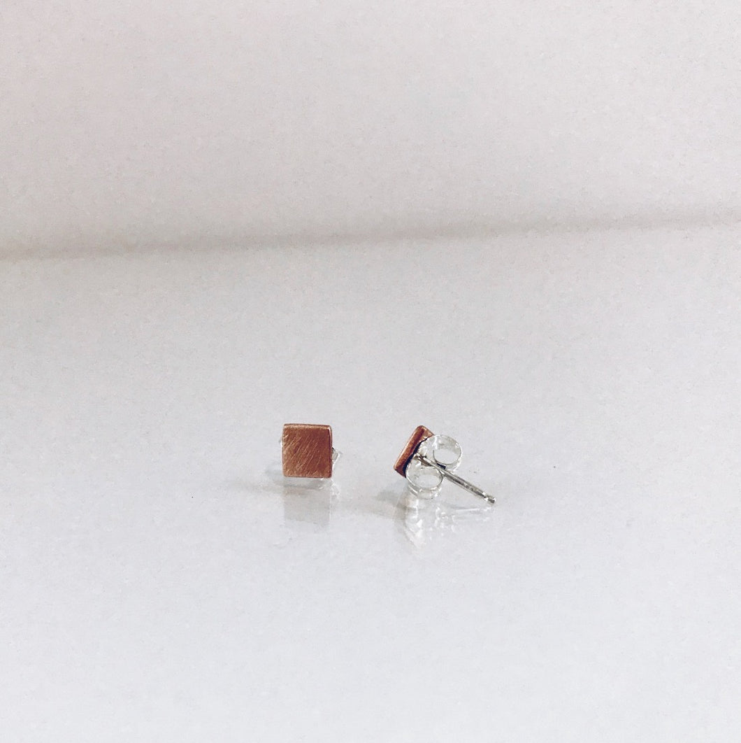 Matte Copper Square Studs