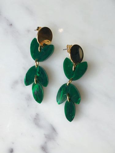 Acrylic Petal Earring - Marbled Green