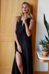 Grecian Keyhole Dress - Black