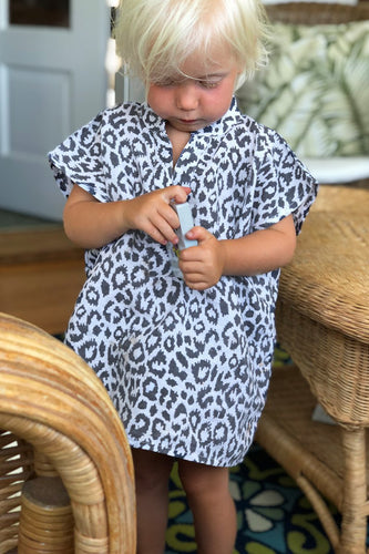 Small Fry Caftan - Charcoal Leopard