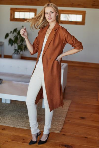 Drop Shoulder Coat - Sienna Linen