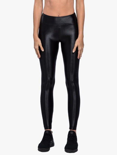 Women's black wet look gym leggings.