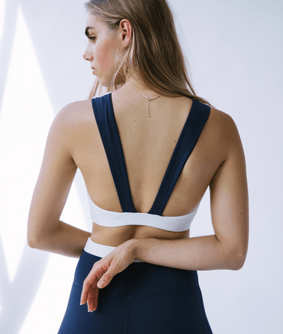 Embrace Sports Bra in Navy and White