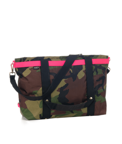 The ANDI Bag in Camo & Pop Pink