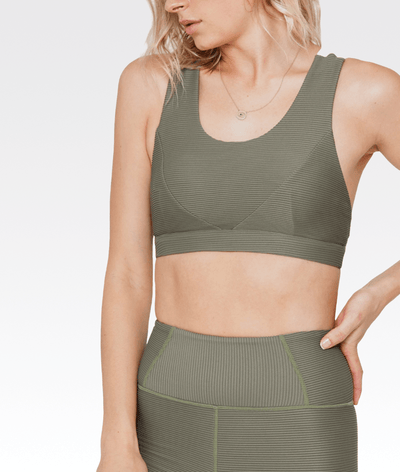 Embrace Sports Bra Khaki and White
