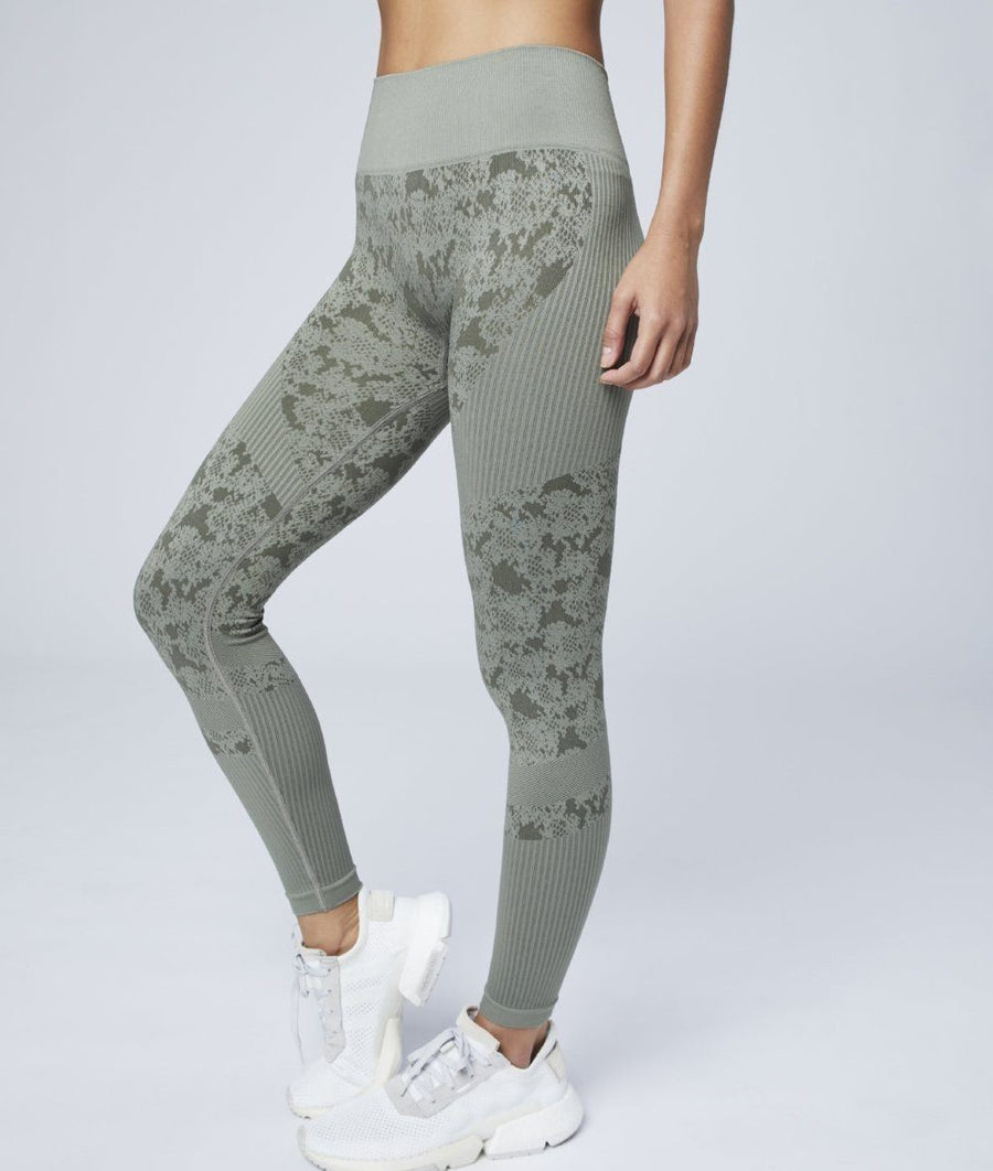 high waisted seamless gym leggings in khaki green with snake print