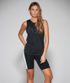 The Grace gym tank in lightweight black material.
