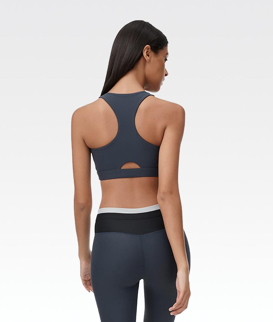 navy blue racerback sports bra supportive