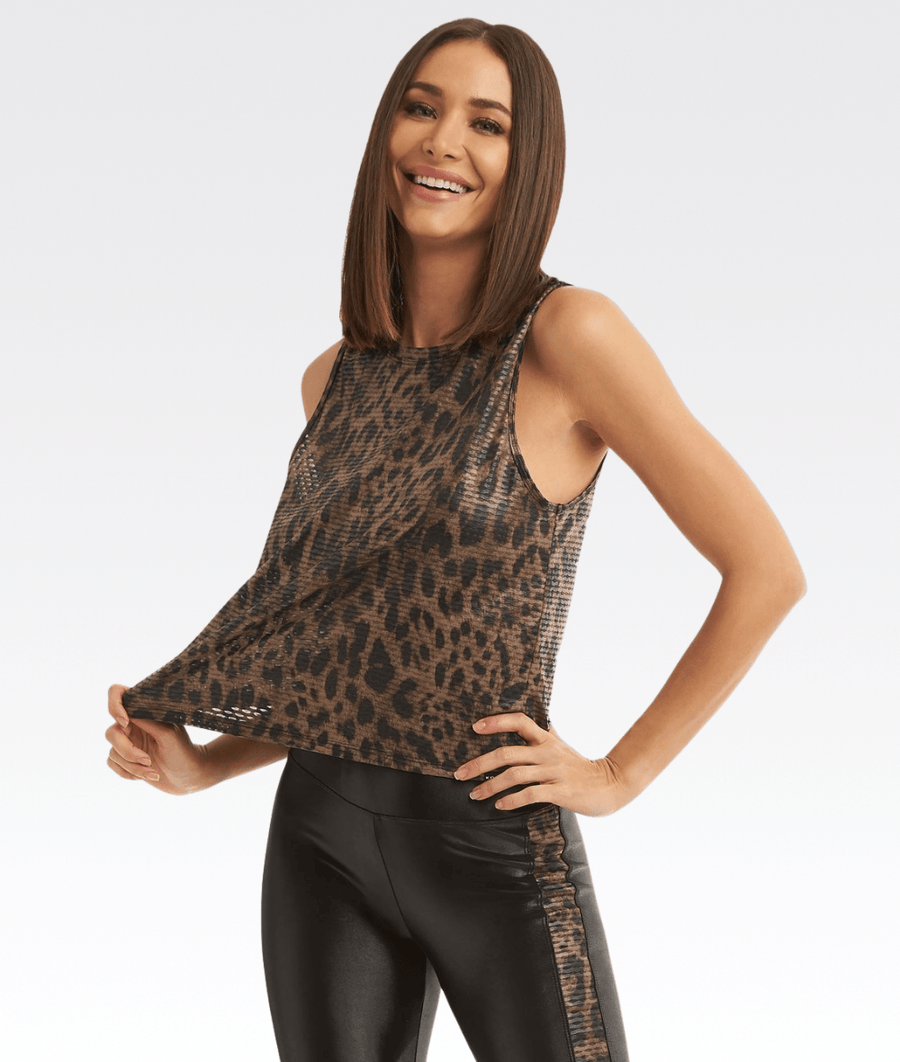 Muscle Netz Tank in Leopard