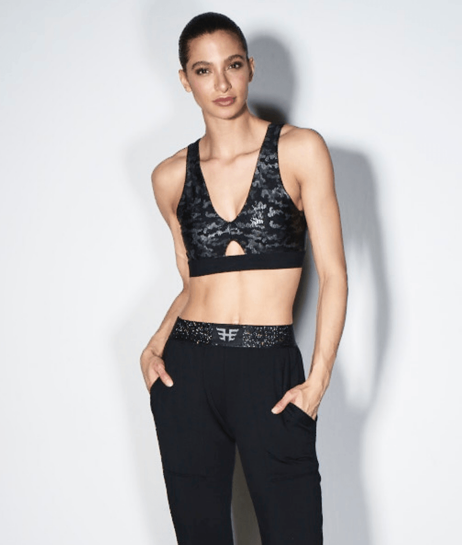 metallic black camo reversible sports bra