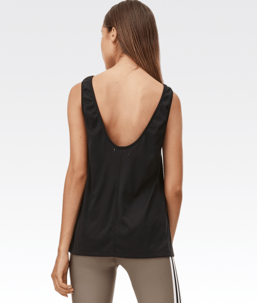 Back Scoop Tank in Black Rib