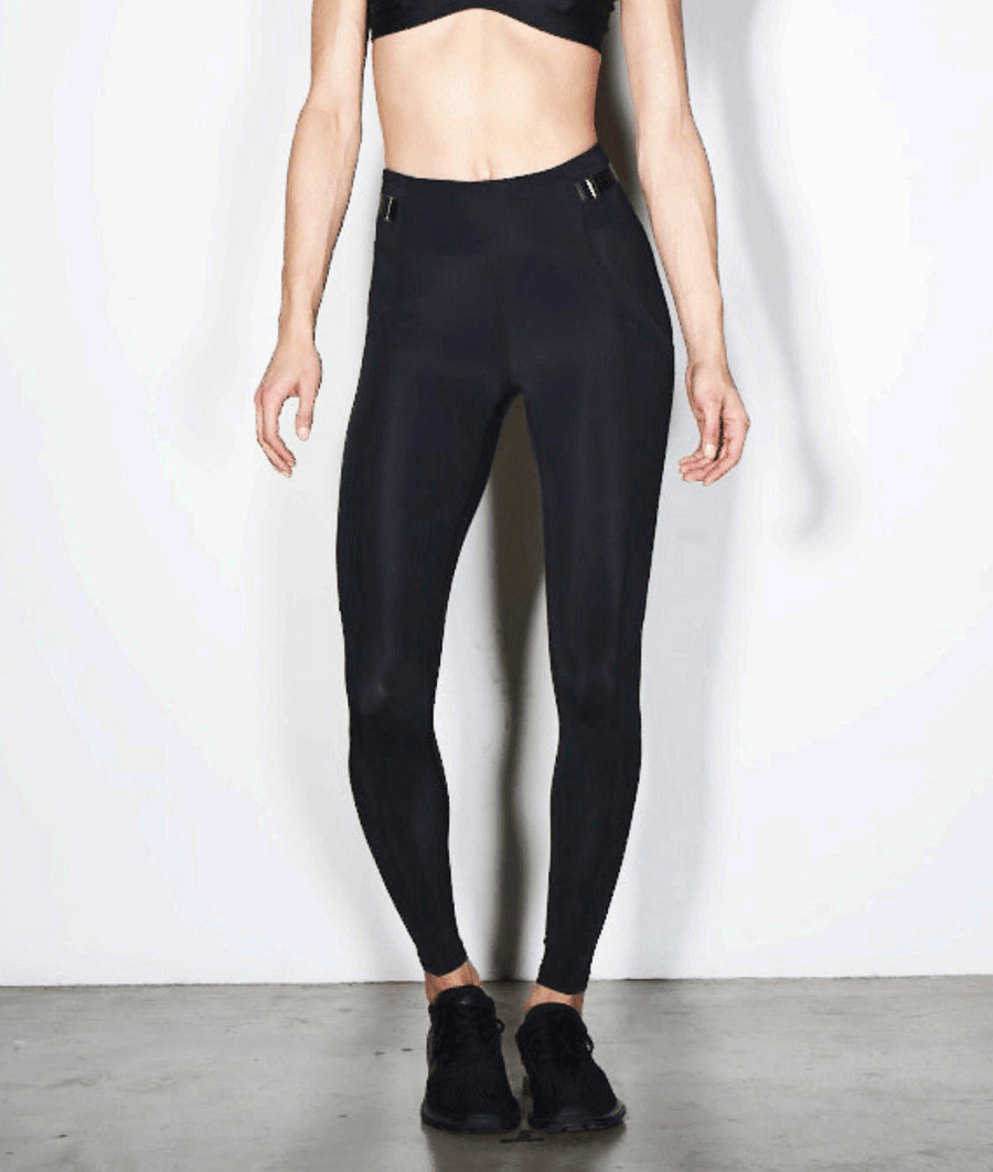 black belted womens high performance gym leggings