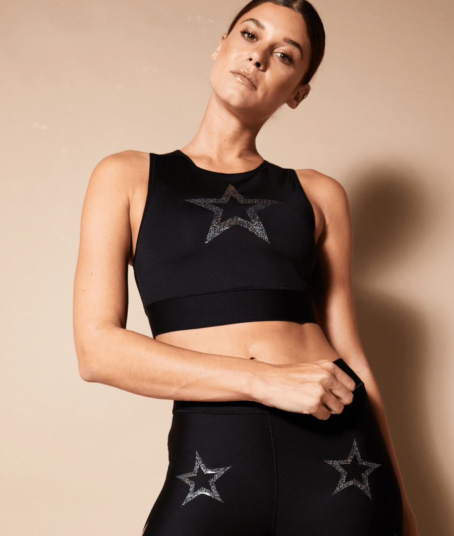 black high neck mesh back high performance crop top sports bra with glitter star