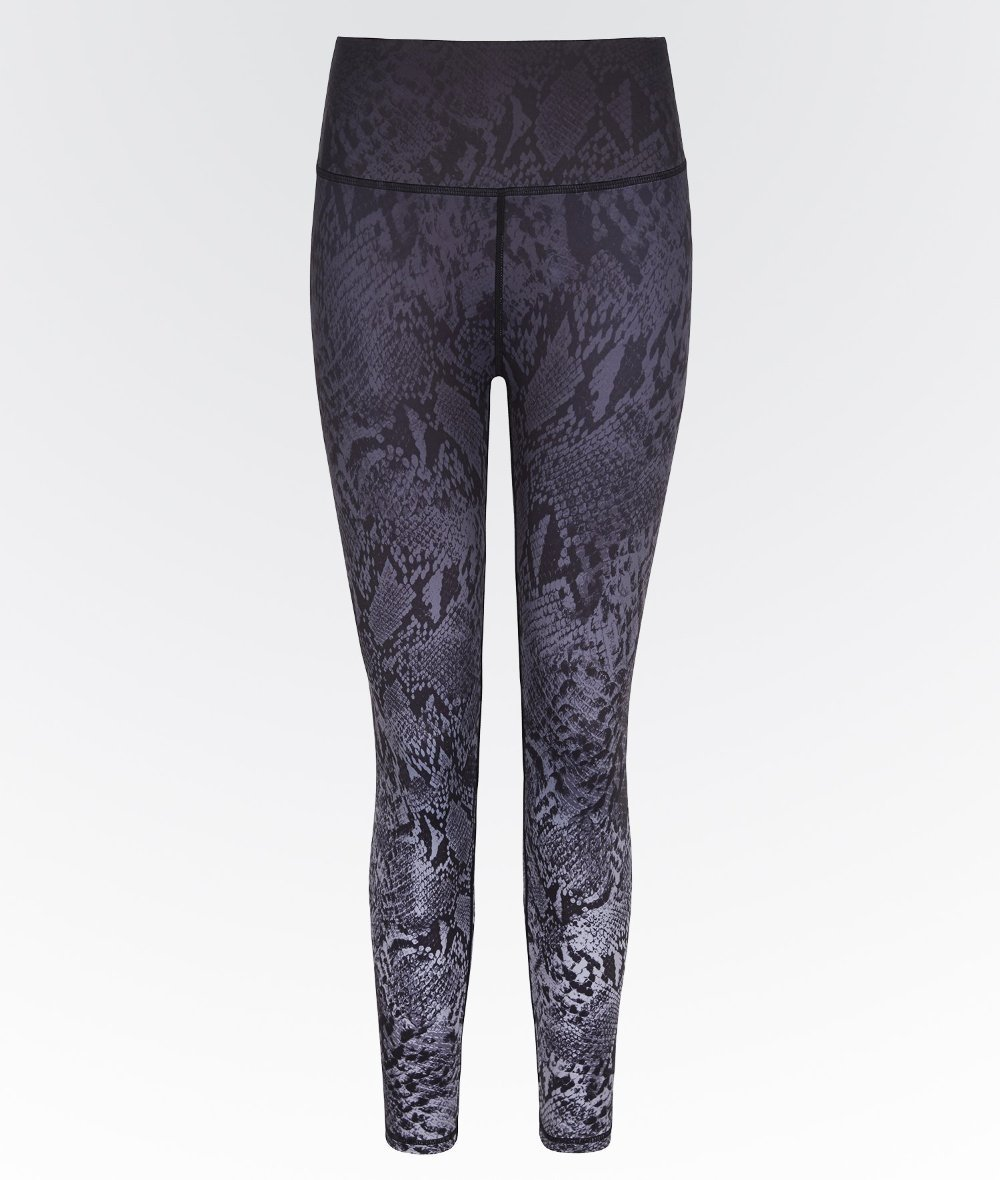 Women's high waisted high performance gym leggings in snake ombre.
