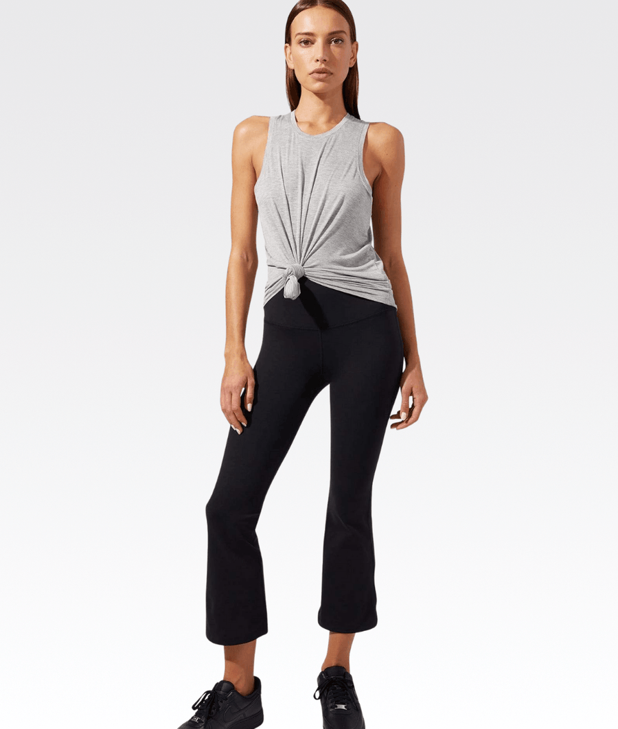 Raquel High Waisted Crop Flare in Black