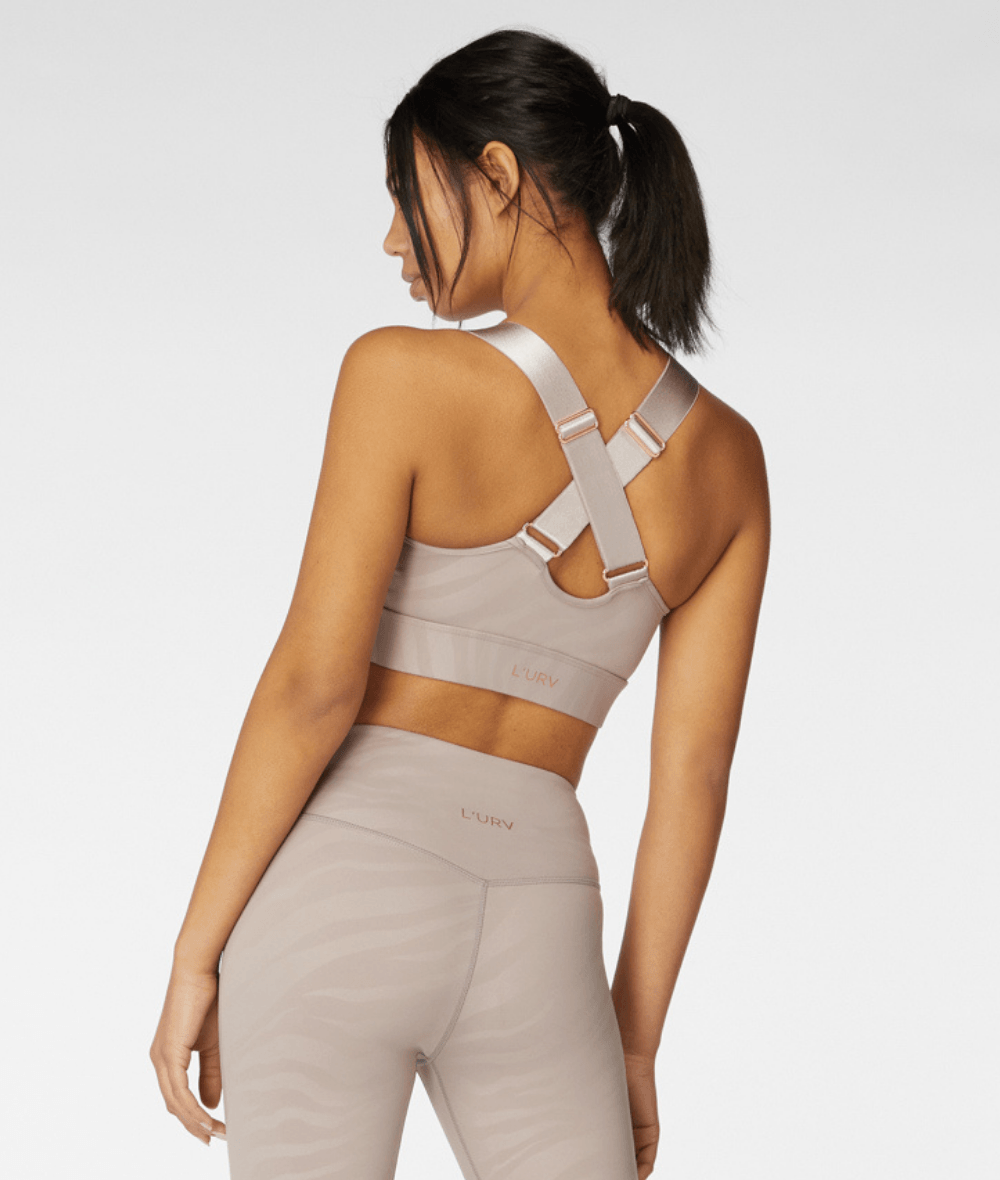 L'URV Aurora Sports Bra in Shell colour. Available from My Gym Wardrobe.