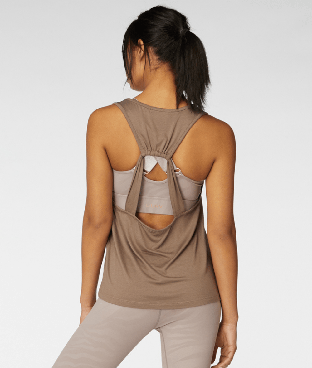 L'URV gym tank in taupe from My Gym Wardrobe.