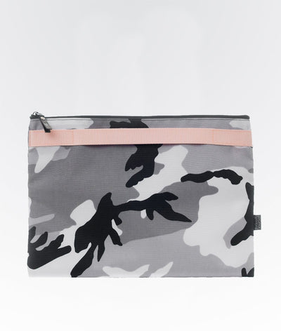 grey black and white camo activewear clutch back baby pink stripe