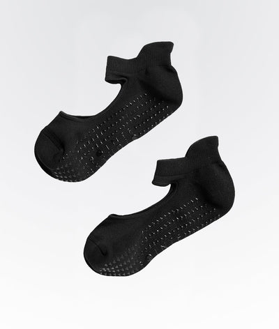 black ankle grip womens socks with foot strap