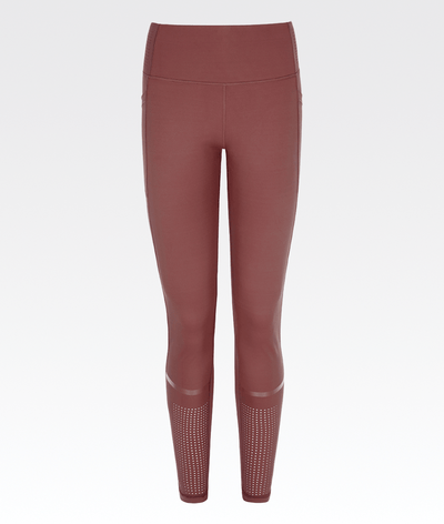 high waisted womens high performance burgundy gym legging with pockets