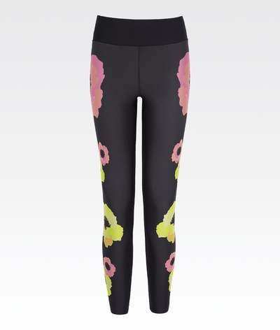 black high waisted elasticated waist ultracor gym leggings with pink and yellow neon flowers