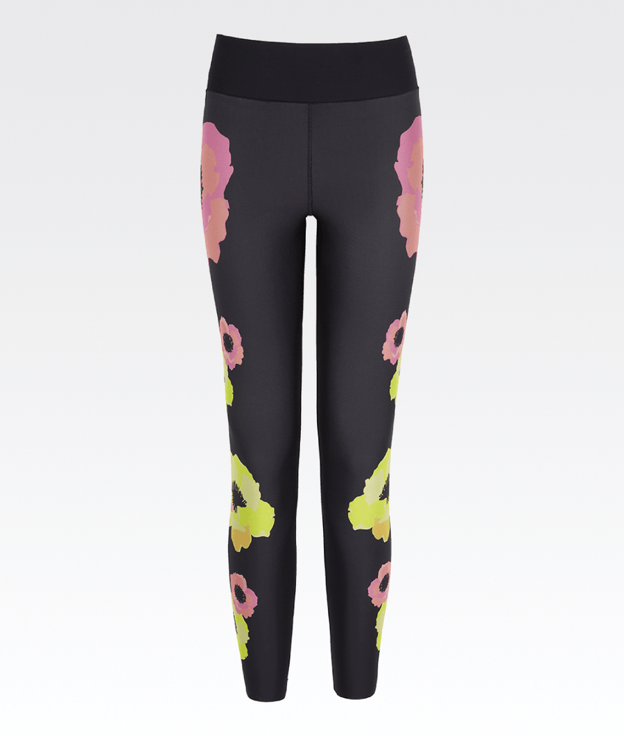 62bb85c7604b60 black high waisted elasticated waist ultracor gym leggings with pink and  yellow neon flowers