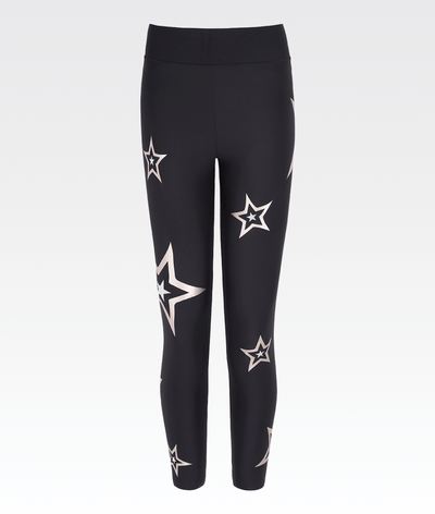 black high waisted gym activewear leggings with rose gold stars ultracor