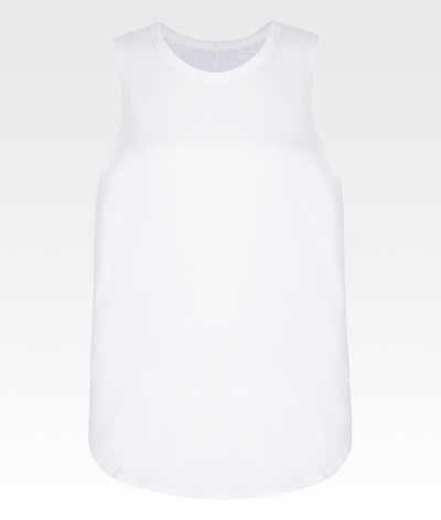 high neck low arm hole soft white gym activewear vest top